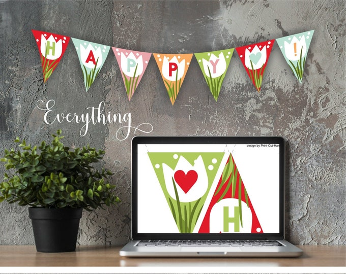 Spring  Party Banner Template with Tulips - Triangle Editable Flags - Custom Colors and Letters