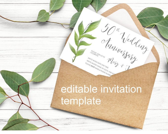Wedding 50th Anniversary Greenery Invitation - Edit Yourself Template