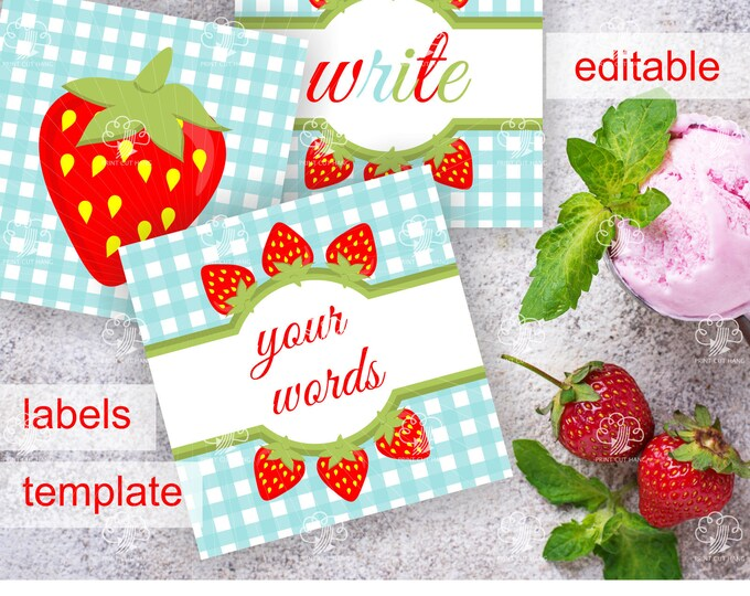 Square Strawberry Labels/Tags -  2.5 inches - printable & editable on the go