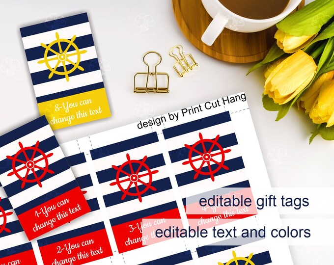 Custom Nautical Gift Tags - Striped Editable Tags with Boat Wheel - Corjl Template