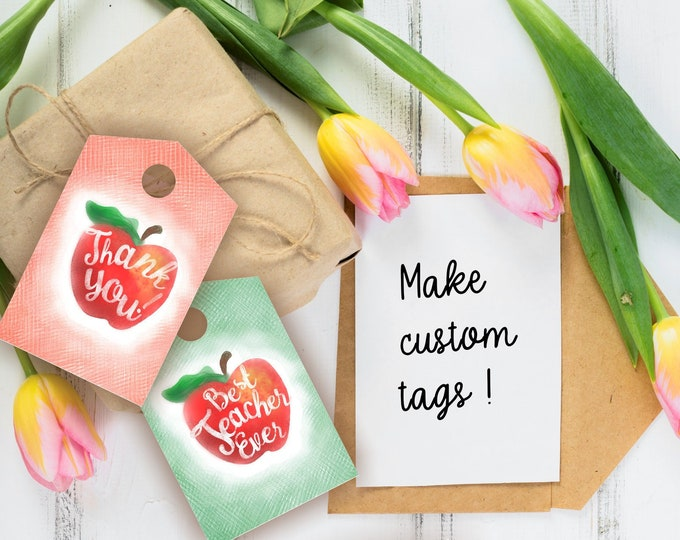 Teacher Appreciation Hand Sketched Apple Gift Tags - Editable on the go - Printable