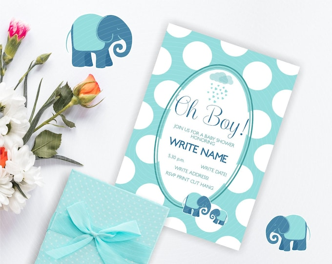 Oh Boy Baby Shower Invitation with elephants and polka dots pattern - instant access to editable template