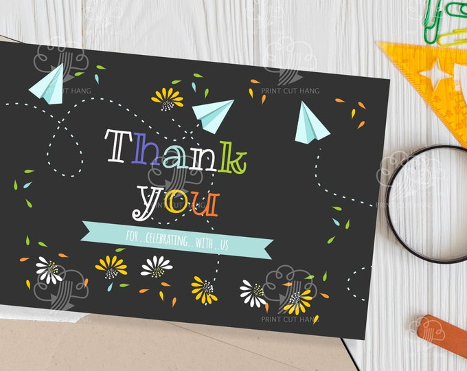 Thank You Note - DIY School Party Favor Card - Instant Editable Template