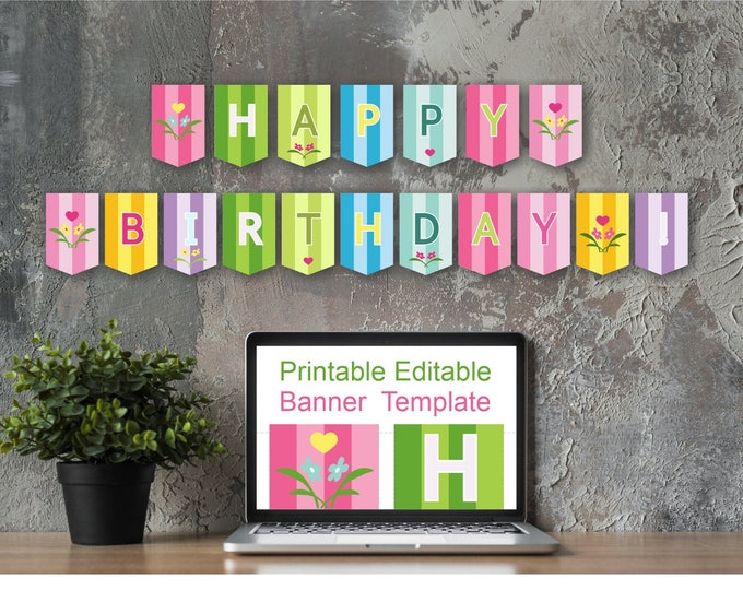 Bright Colorful Birthday Banner - Wide Striped - Printable and Editable Banner Template