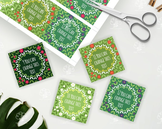 Green Label Sticker with tiny flowers - editable text - square 2-5 in