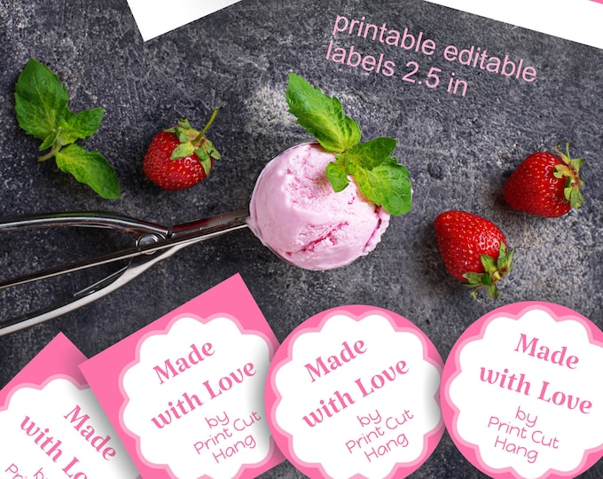 Printable  and Editable Stickers for Handmade Items - ''Made with Love'' Labels
