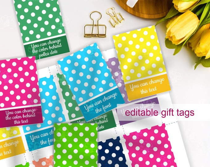 Editable Polka Dots Gift Tags Template -  customize text - customize tag colors yourself