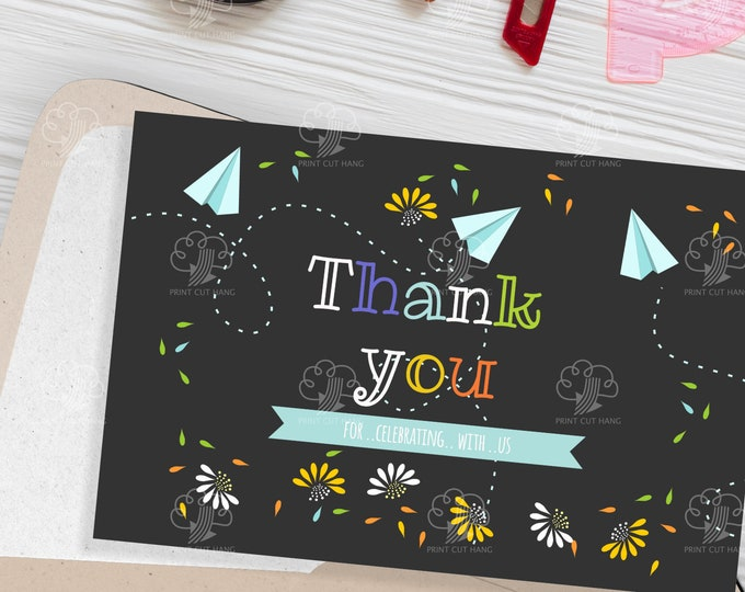 Editable Thank You Note - DIY School Party Favor Card - Instant Editable Template