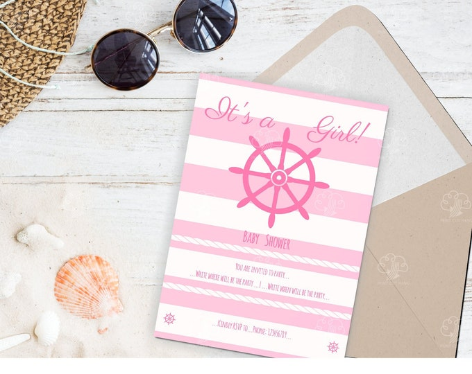 Nautical Pink Girl Baby Shower Editable Invitation Template