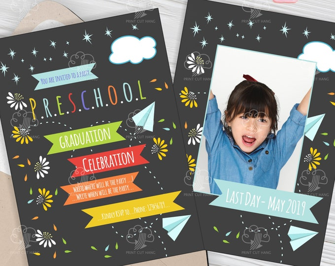 Last Day of Preschool Photo Invitation - Editable Preschool Graduation Invites Template