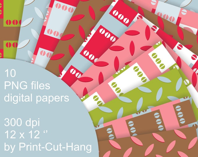 Patterned Digital Collage Papers - inspired by industrial metal surface - PNG files