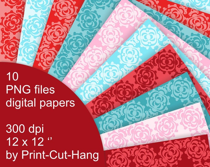 Damask Digital Papers - red, blue, pink - PNG files download