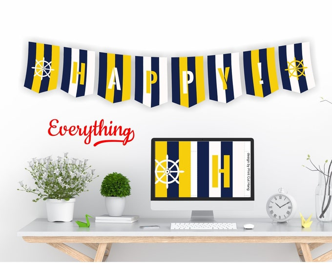 Blue Striped DIY Party Banner - Printable Editable Pennants Template