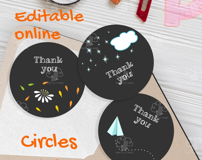 Last Day of School Party Editable Thank you Labels / Favor Tags Template for 2 and half inch circles