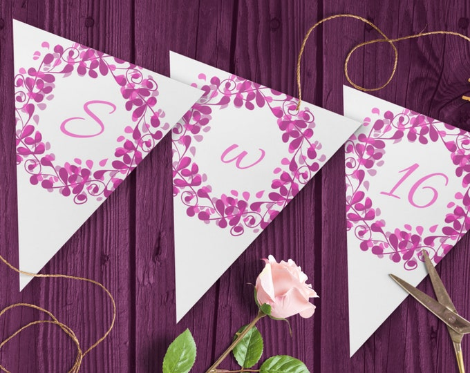 DIY Sweet 16 Garland with  EditableTemplate for pink purple 16th birthday decoration