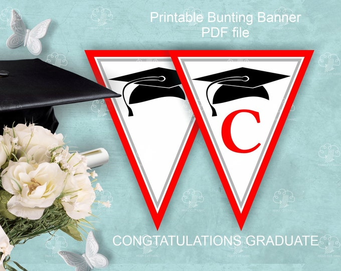 Red White Graduation Banner says Congratulations - Printable Party Decor