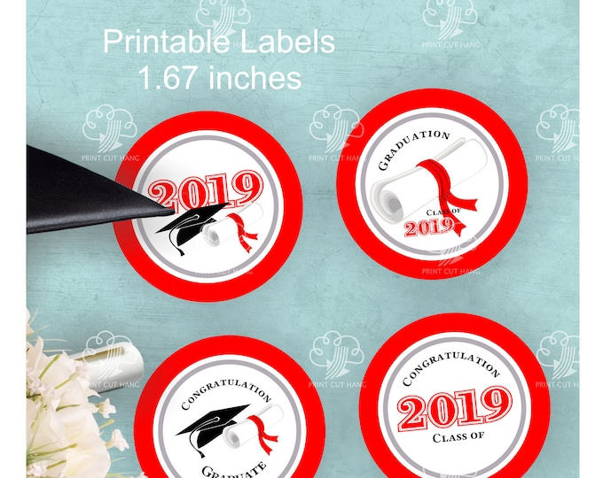 Printable Red Graduation 2019 Round Labels for Favors - 1.67 inches
