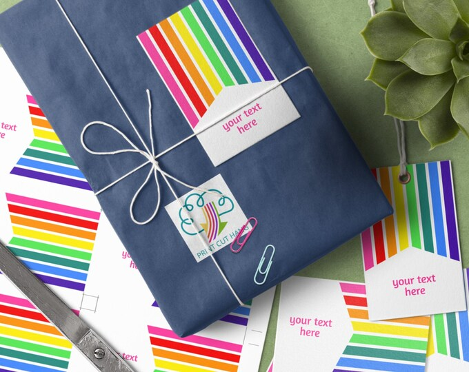 Multipurpose Editable Templates with Rainbow Stripes for Tags Labels Business Cards - 2 x 3.5 inches size