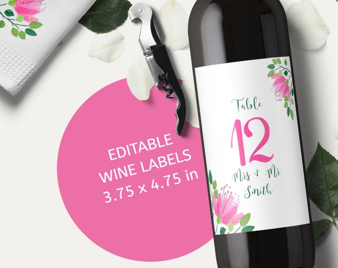 Editable Wedding Wine Labels Template with Pink Flowers for Table Numbers and for Favors - Edit Yourself