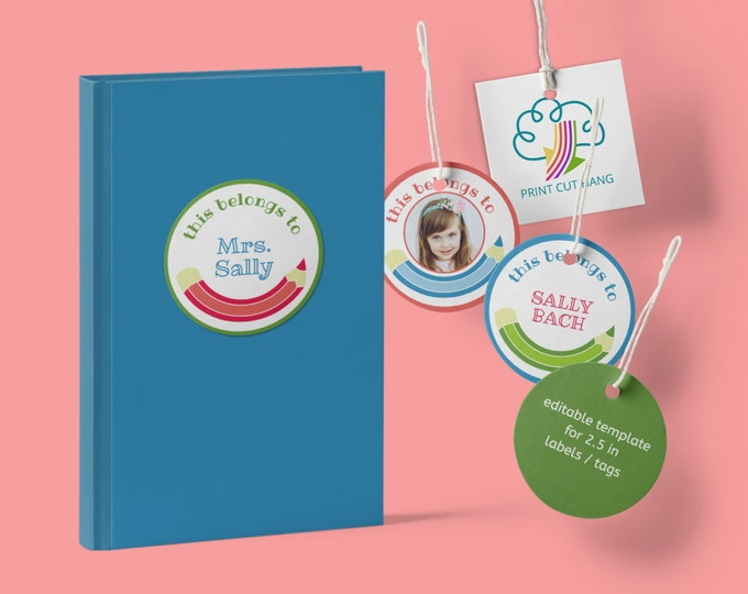 Edit Yourself Stickers Template ''This belongs to'' for School Books  2.5 in size