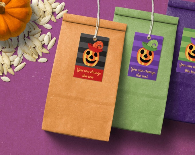 Printable Jack O Lantern Tags - Halloween Editable Tags Template -  Custom Text And Colors - Striped Tags with Pumpkins