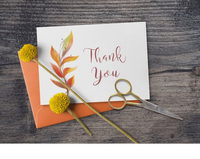 Fall Printable Thank You Notes with Orange Leaves Editable Template