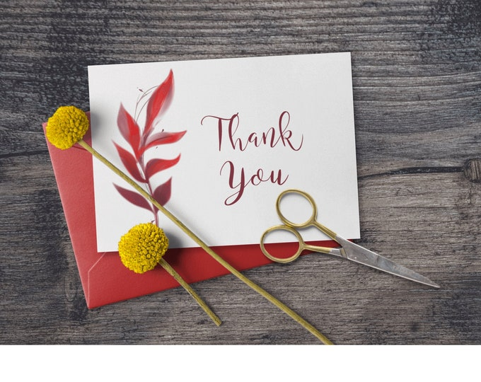 Printable Fall Thank You Note with Red Foliage  Editable Template