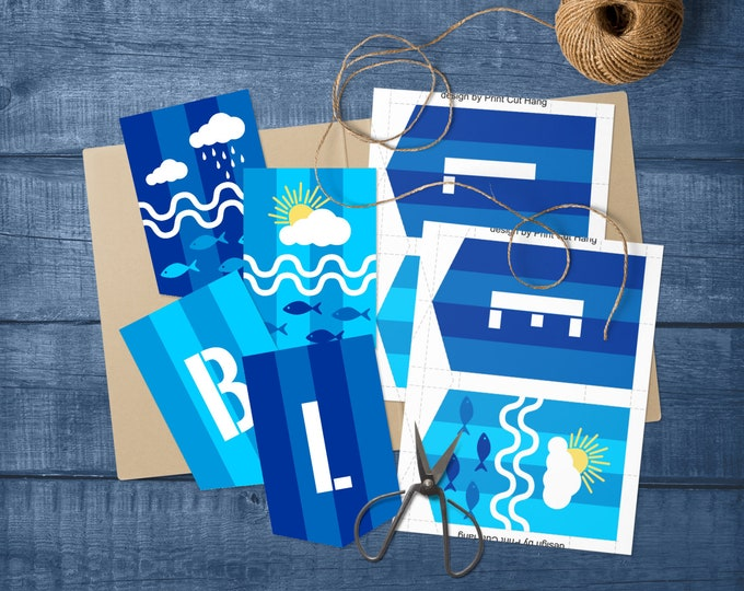 Printable Blue Day Decoration for Preschool and Kindergarten - Self Editable Bunting Template