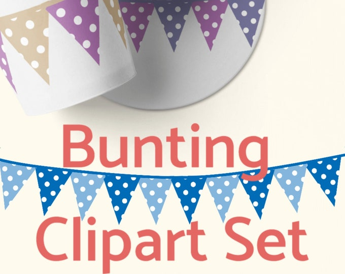 12 Bunting Banner Clipart Set for Card Embellishments PNG files