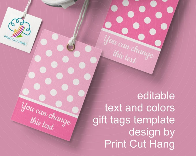 Pink Polka Dot Tags Editable Templates for Girl Baby Shower