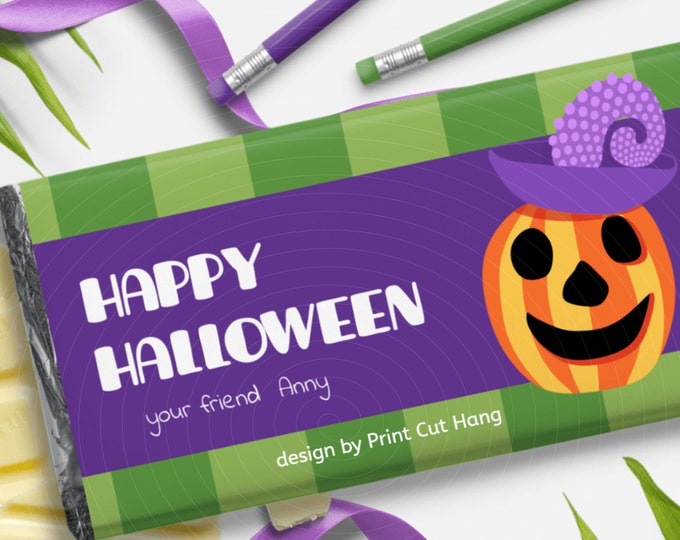 Editable Halloween Candy Bar Wrapper Template