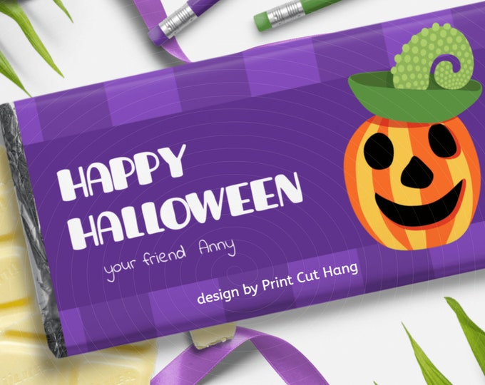 Printable All Hallows Eve Chocolate Wrap with Pumpkin Corjl Template