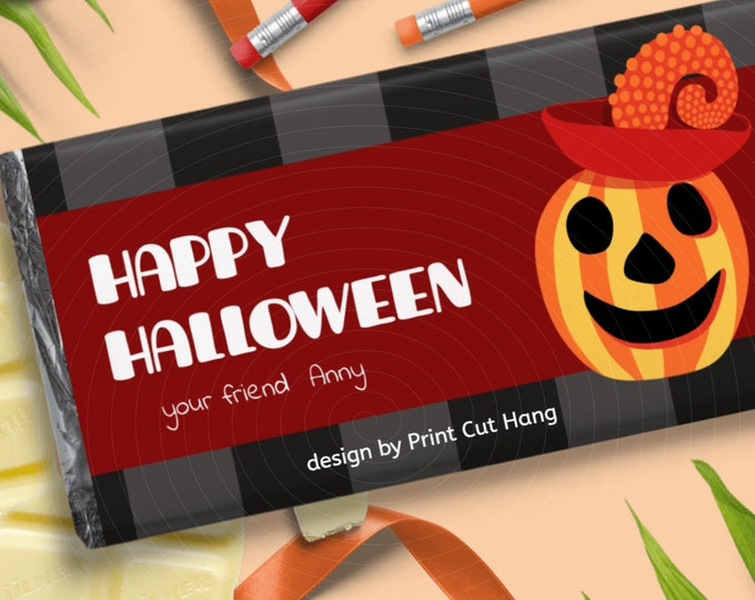 DIY Halloween Candy Wraps Editable Template for Halloween Chocolate Favors
