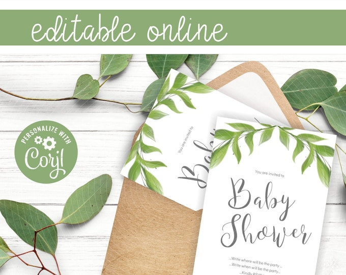 DIY Greenery Baby Shower Invites with Watercolor Leaves Clipart - Online Invitation Template