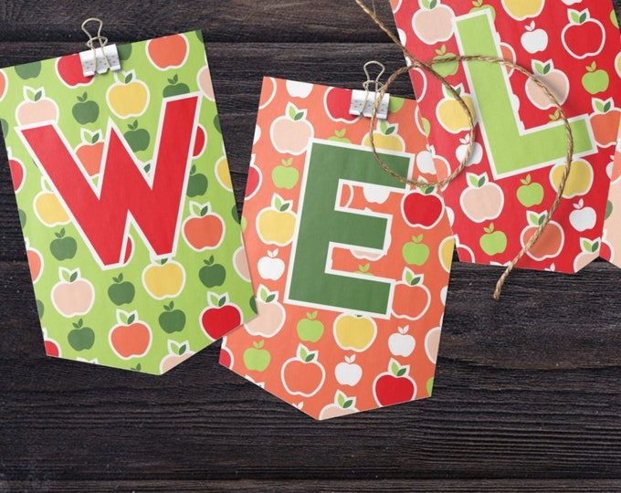 Bunting Letters Apples Patterned Editable Template Welcome Back