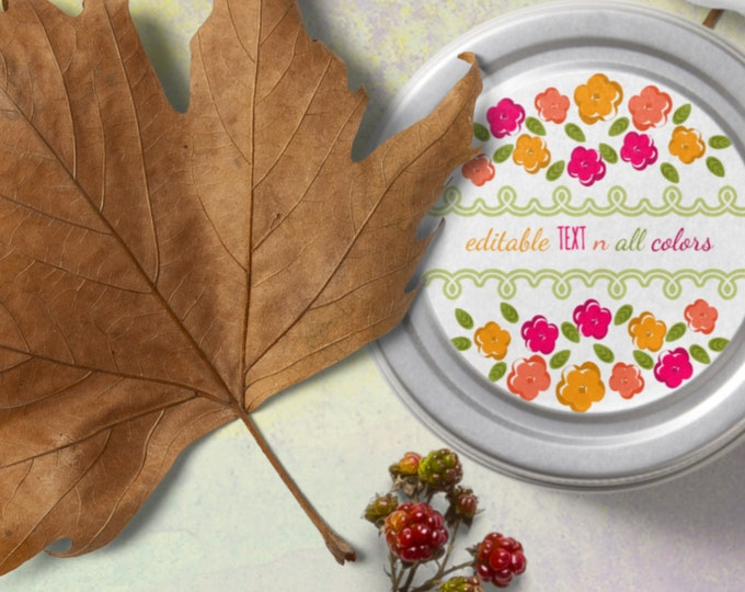 Template Round Floral Labels  Editable All Colors and Text
