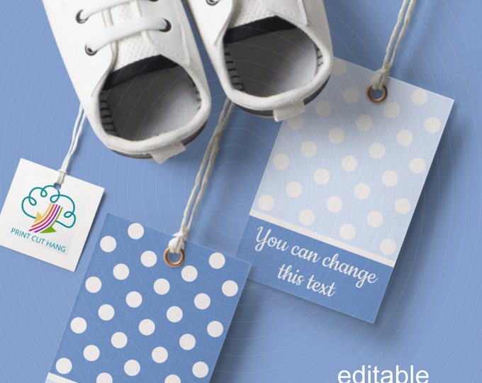 Blue Polka Dot Favor Tags Editable Templates Boy's Baby Shower