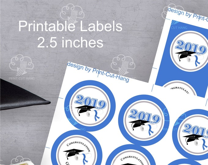 printable graduation stickers for class 2019 - blue white 2.5 '' size