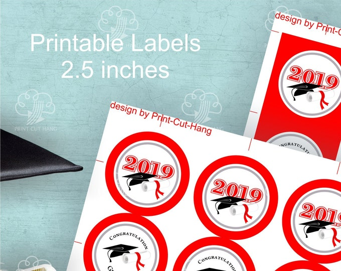 Red Graduation Labels - medium size 2.5 inch - printable round tags