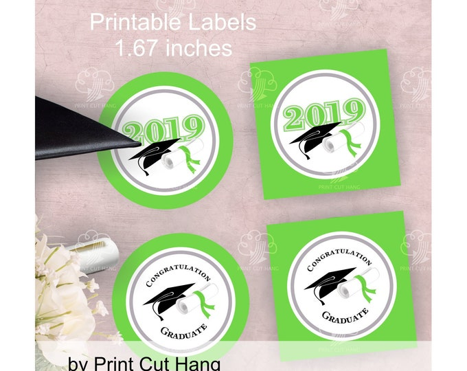 Printable 2019 Graduate Green Stickers - Small Favor Circles