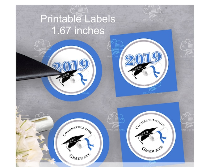 Graduation 2019 Printable Stickers - Blue Small 1.67 inches Circles