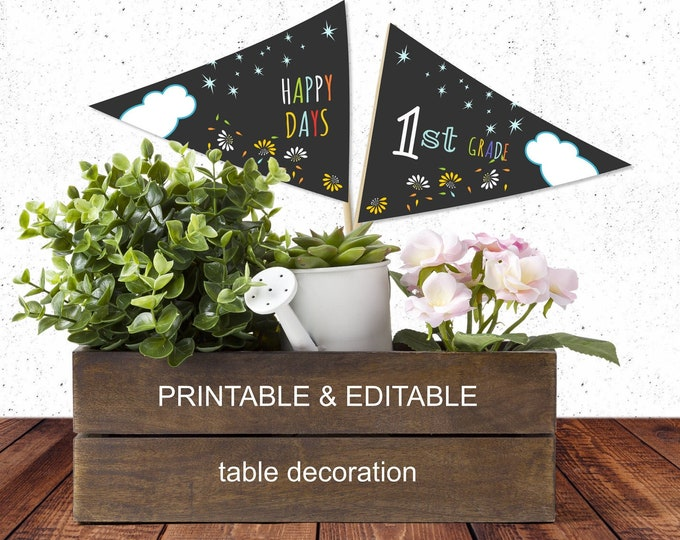 Editable Pennants for Table Decoration - Printable 1st Grade Triangles for Back to School Picture