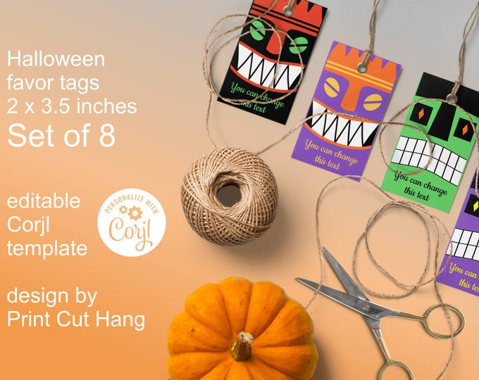 Printable Halloween Favor Tags with Scary Faces - Big Set of 8 All Hallow Eve Tags - Online Editable Template with Corjl