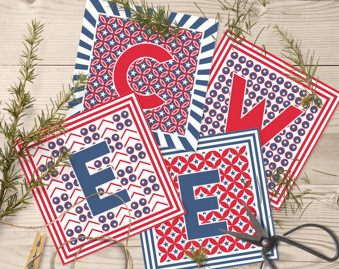 Printable DIY Banner with Welcome Letters in Square Shapes for 4th of July Party