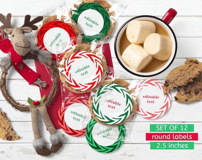 Printable Christmas Round Labels Editable Templates