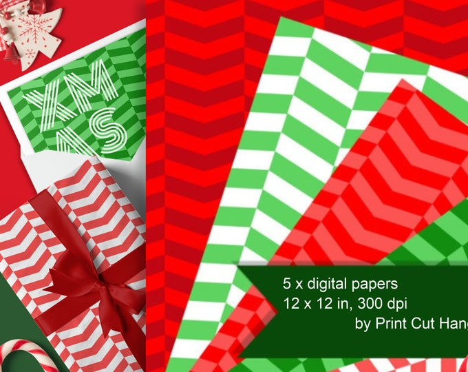 Herringbone Patterned Papers in Christmas red & green for download as PNG files