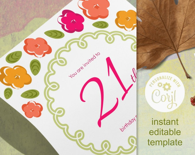 Editable Invitation Template Fall 21st Birthday with Tiny Flowers