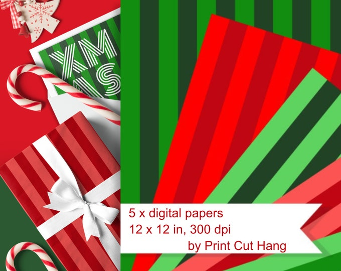 Striped Digital Collage Sheets in Traditional Christmas Red & Green - PNG files for Download