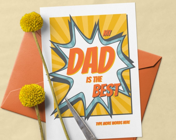 Fully Editable Template for Card for Dads in Cartoon Style - DIY Printable Greetings