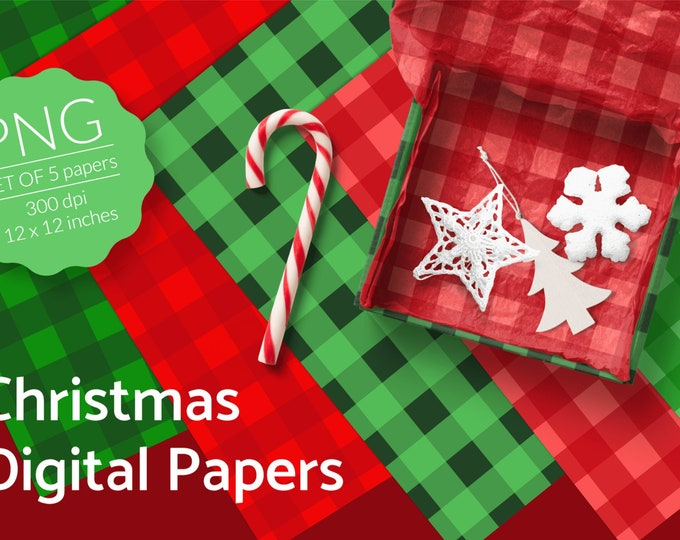 Christmas Gingham Digital Papers in red & green for download - PNG files